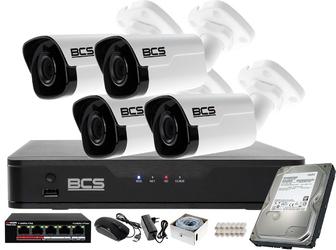 Zestaw monitoringu ip bcs point rejestrator z 4  kamerami 4 mpx + akcesoria