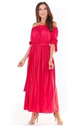 Długa sukienka z hiszpańskim dekoltem - fuksja