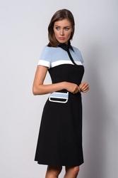 Elegancka wizytowa czarna sukienka z kołnierzykiem polo ii