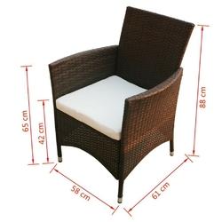 Zestaw foteli ogrodowych tom polirattan brązowy