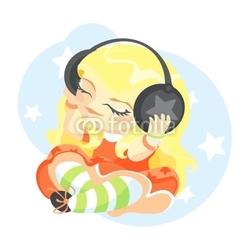 Obraz na płótnie canvas czteroczęściowy tetraptyk Ilustracja cute girl słuchanie muzyki w słuchawkach