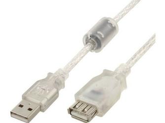 Gembird Przedłużacz USB AM-AF ferryt 5m PREMIUM przezroczysty