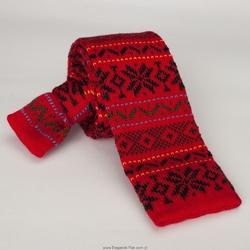 Czerwony wełniany krawat z dzianiny  typu knit we wzór norweski