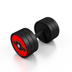 Hantla stalowa gumowana 25 kg czerwony połysk - marbo sport - 25 kg