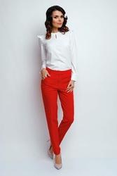 Materiałowe spodnie w kant czerwone