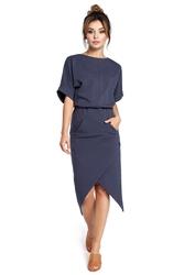Sukienka z kopertowym dołem i kimonowymi rękawami niebieska b029