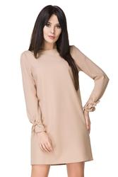 Elegancka prosta sukienka mini z wiązaniem na rękawach beżowa t194