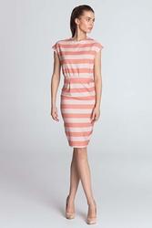 Pomarańczowa wzorzysta sukienka z zakładkami w talii