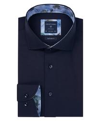 Granatowa koszula profuomo z wstawkami regular fit 40