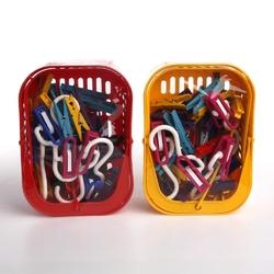 Koszyk  pojemnik na klamerki i spinacze rozkładany prostokątny mtm w zestawie z klamerkami 50 szt. i haczykami 5 szt.