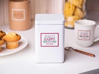 Puszka  pojemnik na kawę  herbatę  cukier  produkty sypkie z pokrywą kwadratowa altom design victoria home biała