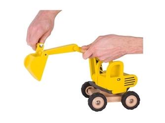 Żółta koparka drewniany pojazd budowlany