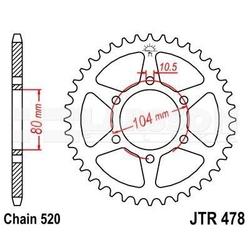 Zębatka tylna stalowa jt r478-43, 43z, rozmiar 520 2302508 kawasaki z 750, er-6f 650