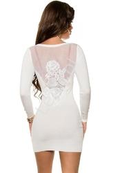 Dzianinowa tunika z gipiurową różą na plecach, ecru