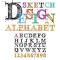 Obraz na płótnie canvas dwuczęściowy dyptyk szkic desing alfabet