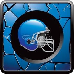Plakat na papierze fotorealistycznym piłka nożna niebieski pęknięty przycisk web
