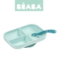 Komplet naczyń z silikonu trójdzielny talerz z przyssawką + łyżeczka - blue