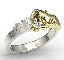 Pierścionek godzilla z białego i żółtego złota z cyrkonią lp-94bz-c