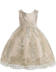 Beżowa sukienka dla dziewczynki ze złotym haftem na tiulu