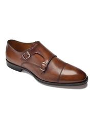 Eleganckie brązowe skórzane buty męskie podwójne monki 39