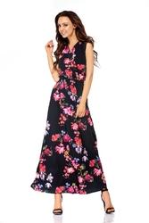 Czarna kopertowa wzorzysta maxi sukienka bez rękawów