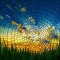 Naklejka ilustracja wektorowa słońca w trawie.