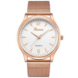 Zegarek damski geneva różowe złoto mesh klasyczny - złoto