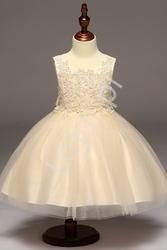 Złoto beżowa sukienka z obfitą tiulową spódnicą dla dziewczynek