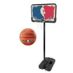 Zestaw kosz do koszykówki spalding nba logoman mobilny z regulacją wysokości 228 - 305 cm + piłka spalding nba silver outdoor