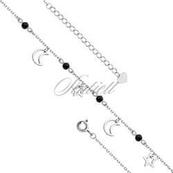 Srebrna bransoletka na nogę pr.925 z księżycami i gwiazdkami - rodowanie