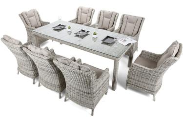 Zestaw ogrodowy stół + 8 foteli 230 cm clifton jasnoszary