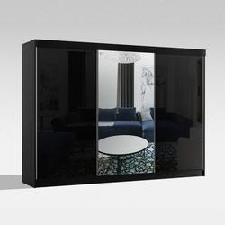 Czarna szafa przesuwna samba 250 + lustro