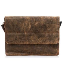 Skórzana torba męska na ramię paolo peruzzi ga143 jasnobrązowa - j. brązowy
