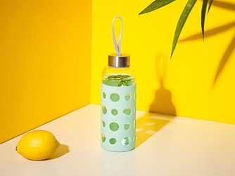Bidon  butelka na wodę szklana w silikonowej osłonie altom design 425 ml miętowa