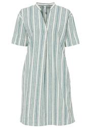 Sukienka bonprix niebieski mineralny - biel wełny w paski