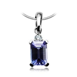 Staviori Wisiorek. 1 Diament, szlif brylantowy, masa 0,03 ct., barwa H, czystość I1. 1 Tanzanit, masa 0,60 ct.. Białe Złoto 0,585. Wymiary 4x14 mm.