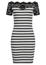 Sukienka w prążek z koronką bonprix czarno-biały w paski
