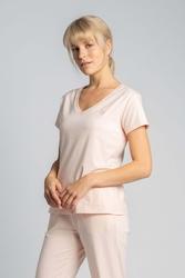 Bawełniana koszulka do spania z krótkim rękawem - brzoskwiniowy