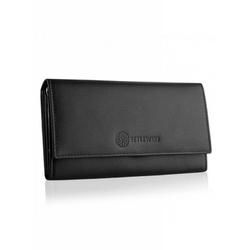Skórzany elegancki portfel betlewski bpd-ss-13 czarny