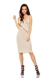 Beżowa Sukienka Midi z Asymetryczną Falbanką