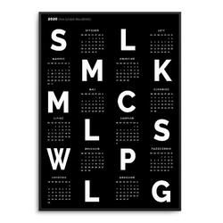 Board - kalendarz 2020 w ramie , wymiary - 40cm x 50cm, kolor ramki - biały