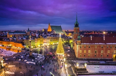 Warszawa plac zamkowy zimą - plakat premium wymiar do wyboru: 60x40 cm