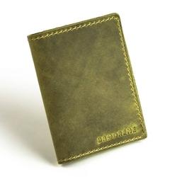Zielony cienki portfel ze skóry naturalnej z bilonem slim wallet brodrene sw04