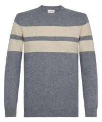 Szary sweter w beżowe pasy profuomo  s