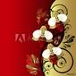 Plakat na papierze fotorealistycznym kwiatowy streszczenie tło: gałąź orchidei i ptak