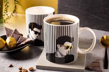 Kubek do kawy i herbaty porcelanowy altom design modern man 300 ml, dekoracja a  zmieniająca kolor
