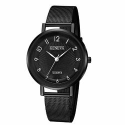 Zegarek DAMSKI GENEVA czarny MESH elegancki - black black silver