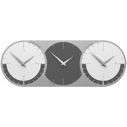 Zegar ścienny - 3 strefy czasowe world clock calleadesign szary  biały 12-010-3