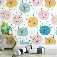 Tapeta dla dzieci - crazy monsters , rodzaj - próbka tapety 50x50cm