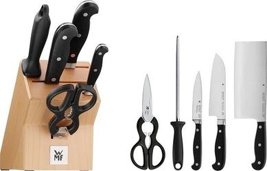 Blok z kompletem 3 noży, ostrzałką i nożyczkami wmf